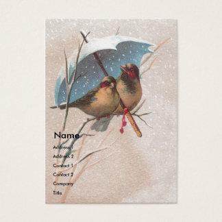 Vögel unter blauem Regenschirm Visitenkarte