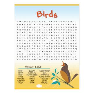 Vogel-Wort-Suchtätigkeits-Karte Postkarte