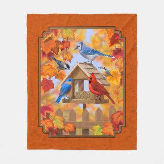Vogel-Zufuhr-Ansammlungs-Herbst-Orange Fleecedecke