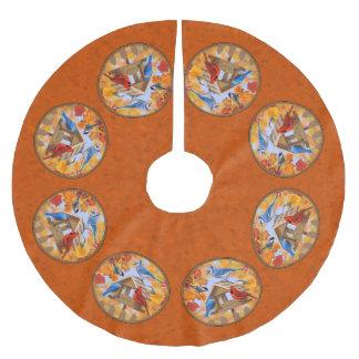 Vogel-Zufuhr-Ansammlungs-Herbst-Orange Polyester Weihnachtsbaumdecke