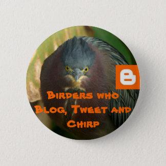 Vogelbeobachter, die Blog, tweeten und zwitschern Runder Button 5,1 Cm