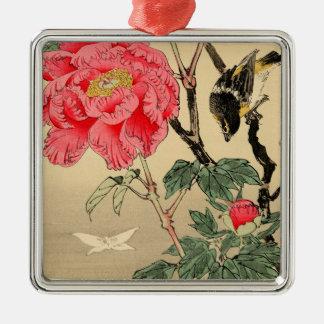 Vogelbeobachtung ein Schmetterling Silbernes Ornament