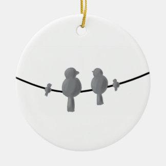 Vogelfamilie auf Linie Weihnachtsdekoration Keramik Ornament