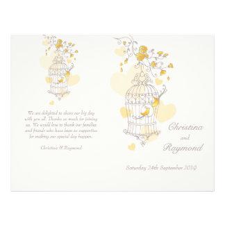 Vogelkäfig-gelbes graues großes Hochzeits-Programm 21,6 X 27,9 Cm Flyer