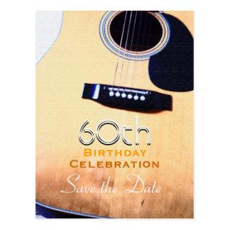 Volksgitarren-60. Geburtstags-Save the Date Postkarte