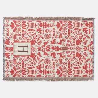 Volkskunst-Monogramm-Feiertags-Decke Decke