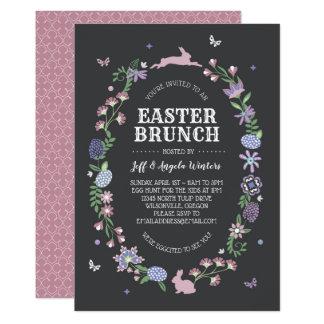 Volkskunst-ovaler Ostern-mit BlumenBrunch Karte