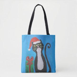 Volkskunst-Weihnachtskatze Tasche