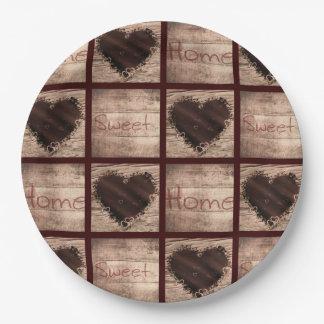 Volkskunst-Zuhause-süße Zuhause-Collagen-Herzen Pappteller