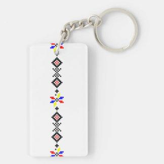 Volkssymbolland ländliches r des rumänischen beidseitiger rechteckiger acryl schlüsselanhänger