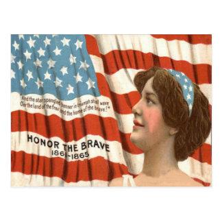 Volkstrauertag US-Flaggen-Damen-Liberty Postkarte