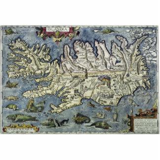 Volle Ortelius Islandia Karte mit Seeungeheuern Freistehende Fotoskulptur