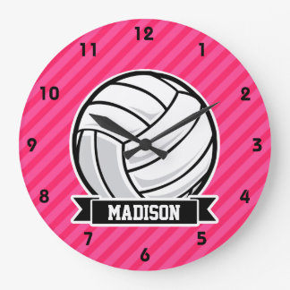 Volleyball auf rosa Neonstreifen Uhren