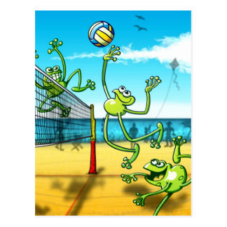 Volleyball-Frosch Postkarte
