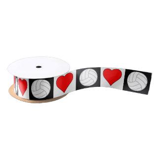 Volleyball-Herz-Schwarz-weißes rotes Checkered Satinband