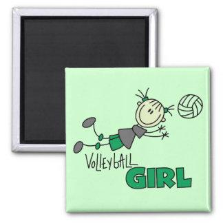 Volleyball-Mädchen-T-Shirts und Geschenke Quadratischer Magnet