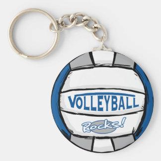 Volleyball schaukelt Blau und Silber Standard Runder Schlüsselanhänger