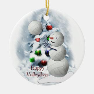 Volleyball-Schneemann-Weihnachten Keramik Ornament
