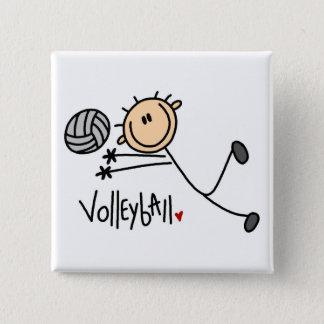 Volleyball-Strichmännchen-Knopf Quadratischer Button 5,1 Cm