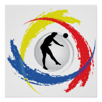 Volleyball-Tricolor Emblem (Mann) Poster