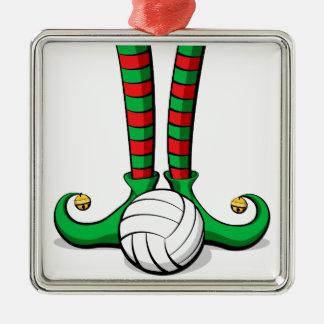 Volleyball-Weihnachtself-Füße Silbernes Ornament