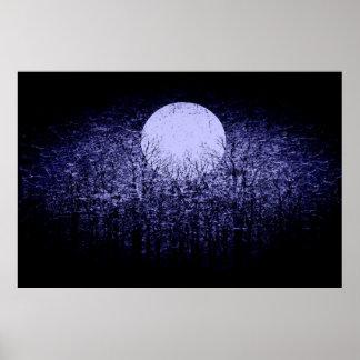 Vollmond an Winternacht| Schwarzweiss-Kunst 4 Poster