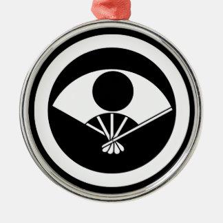 Vollmond auf Fan im Kreis Rundes Silberfarbenes Ornament
