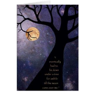 Vollmond-bloße Bäume Grußkarte