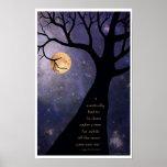 Vollmond-bloße Bäume Poster