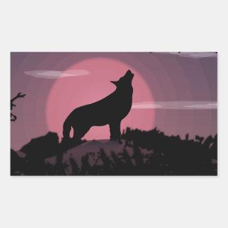 Vollmond des Wolfs Rechteckiger Aufkleber