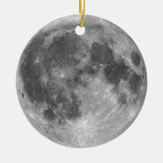 Vollmond gesehen mit Teleskop Keramik Ornament