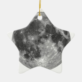 Vollmond gesehen mit Teleskop Keramik Stern-Ornament