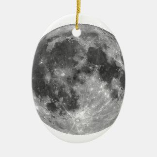 Vollmond gesehen mit Teleskop Ovales Keramik Ornament