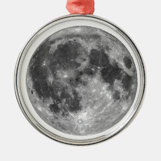Vollmond gesehen mit Teleskop Rundes Silberfarbenes Ornament