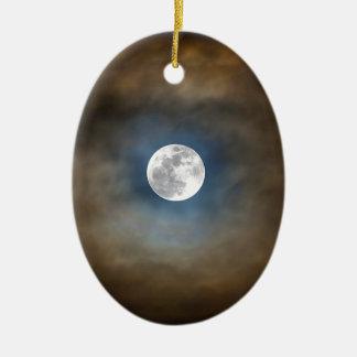 Vollmond in den Wolken Keramik Ornament