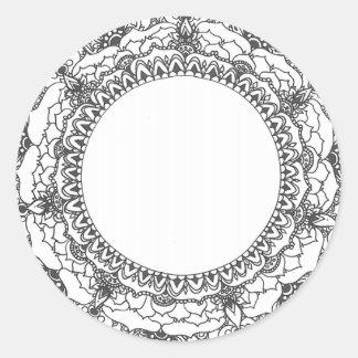 Vollmond-Mandala-Aufkleber Runder Aufkleber