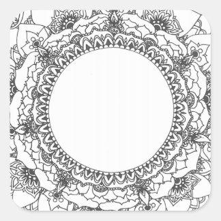 Vollmond-Mandala-Quadrat-Aufkleber Quadratischer Aufkleber
