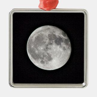 Vollmond Quadratisches Silberfarbenes Ornament