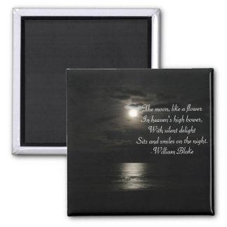 Vollmond über dem Wasser Nacht-mit an der Poesie Quadratischer Magnet