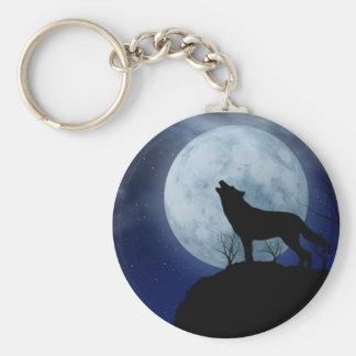 Vollmond-Wolf Keychain Standard Runder Schlüsselanhänger