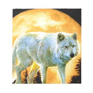 Vollmondwolf des Waldwaldmondscheins Notizblock