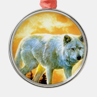 Vollmondwolf des Waldwaldmondscheins Rundes Silberfarbenes Ornament