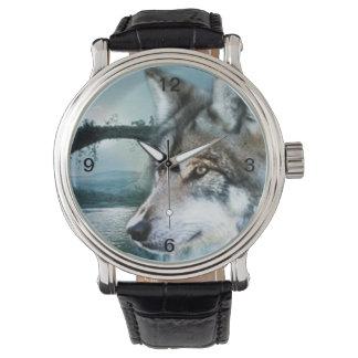 Vollmondwolf des Waldwaldmondscheins Uhr