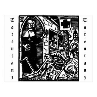 Vom Totentanz Nonnen- und Skeletpostkarte Postkarte