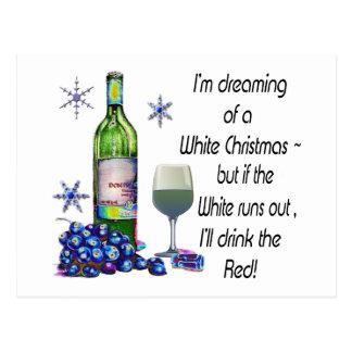 Vom weißen Weihnachten träumen, lustige Postkarte