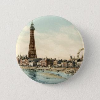 Vom zentralen Pier Blackpool, England Runder Button 5,7 Cm