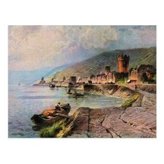 Von Astudin, Ruedesheim morgens Rhein Postkarte