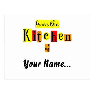 Von der Küche der Retro Rot-Rezept-Karte Postkarte
