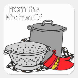 Von der Küche des Kochens des Topfes u. des Siebs Quadrat-Aufkleber