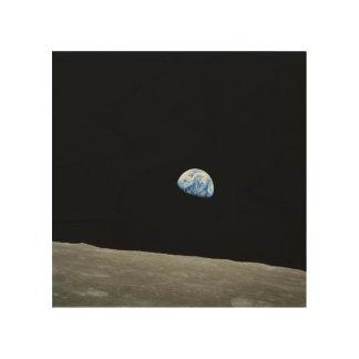 Von Erde auf dem Mond aufheben Holzleinwand